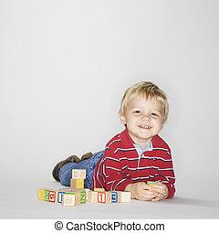 garçon, jouer, blocks.