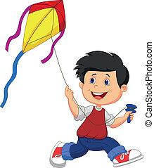 garçon, jouer, cerf volant, dessin animé