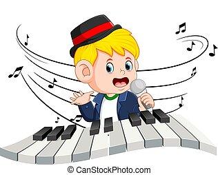 garçon, jouer, chant, piano
