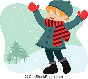 garçon, jouer, outdoor-winter