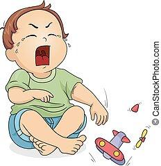 garçon, jouet, cri, illustration, coupure, enfantqui commence à marcher, gosse