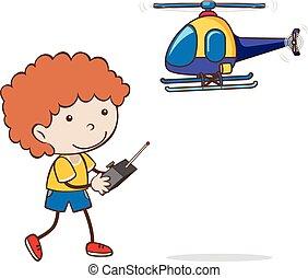 garçon, jouet, jouer, hélicoptère