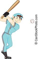garçon, joueur base-ball