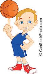 garçon, joueur basket-ball