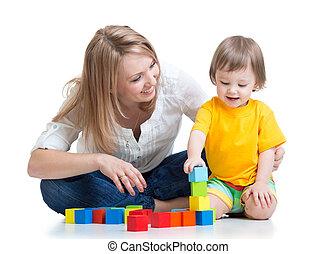 garçon, jouez ensemble, ensemble, construction, mère, jouet, gosse