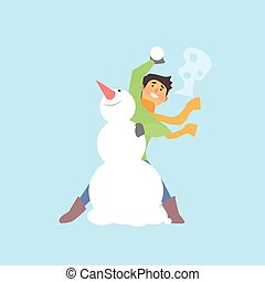 garçon, lancement, illustration, snowman., boule de neige, vecteur