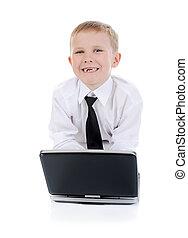 garçon, laptop.