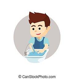 garçon, lavage, main