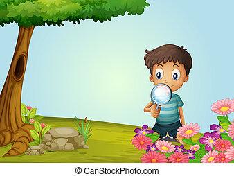 garçon, lense, jardin