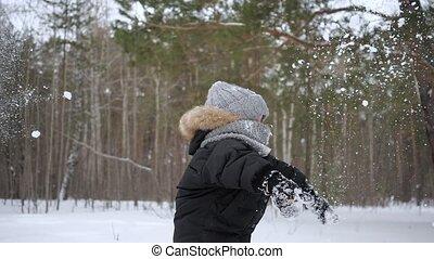 garçon, lent, lancement, saison, motion., quelques-uns, neige, air, enfant, froid, apprécier