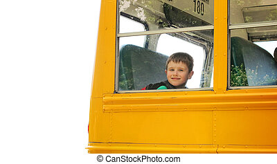 garçon, levée, autobus école, blanc, fond
