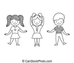 garçon, ligne, vecteur, blanc, noir, style, heureux, illustration, danser., groupe, enfants, coloration, dessin animé, arrière-plan., mignon, girl, livre, kids..