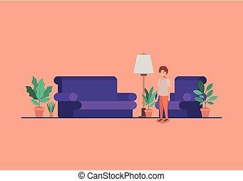 garçon, livingroom, adolescent