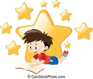 garçon, livre, étoiles, fond, lecture