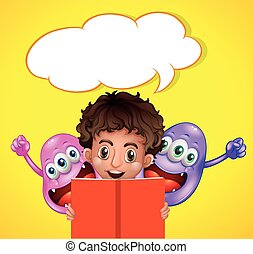 garçon, livre, deux, monstres, lecture