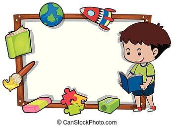 garçon, livre, frontière, lecture, gabarit