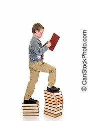 garçon, livre, jeune, prodige