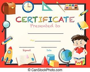 garçon, livre, lecture, gabarit, certification