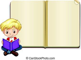 garçon, livre, lecture, gabarit, vide