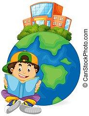 garçon, livre, lecture, icône, la terre