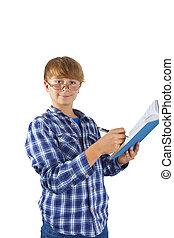 garçon, livre, lecture, intelligent, heureux