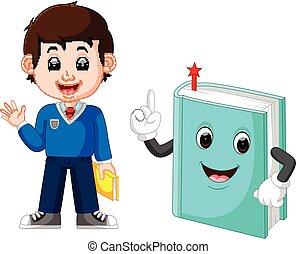 garçon, livre scolaire, géant