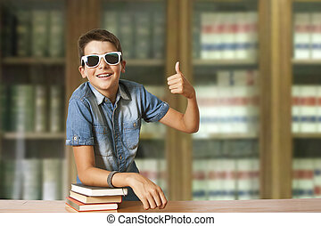 garçon, livres école, bibliothèque