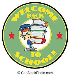 garçon, livres école, intelligent