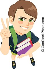garçon, livres, étudiant, tenue