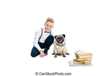 garçon, livres, chien