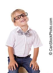 garçon, livres, sittting, lunettes, tas