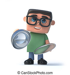 garçon, lunettes, plateau, argent, 3d