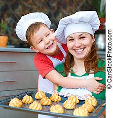 garçon, mère, confection, pain