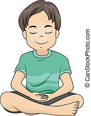 garçon, méditer, illustration, gosse