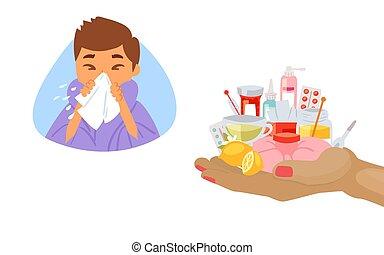 garçon, main humaine, vecteur, illustration., traitement, malade, mouchoir, grippe, grippe, dessin animé, concept, médecine