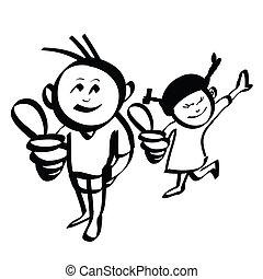 garçon, main, vecteur, dessiné, girl, dessin animé