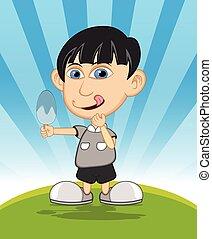garçon, manger, dessin animé, glace