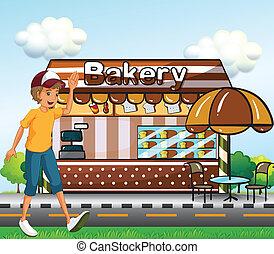 garçon, marche, boulangerie, travers