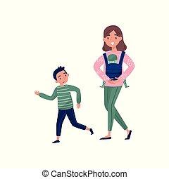 garçon, marche, extérieur, elle, plat, children., near., mère, peu, nouveau-né, vecteur, conception, lifestyle., porteur, actif, gosse