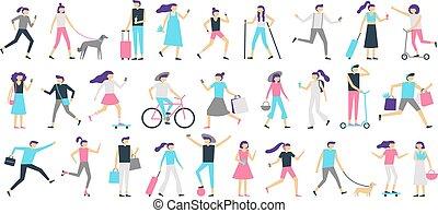 garçon, marche, femme, ville, gens., skateboard, isolé, illustration, chien, regarder, vecteur, girl, promenade, smartphone, homme