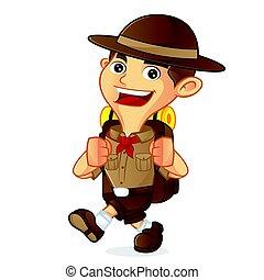 garçon, marche, sac à dos, porter, dessin animé, scout