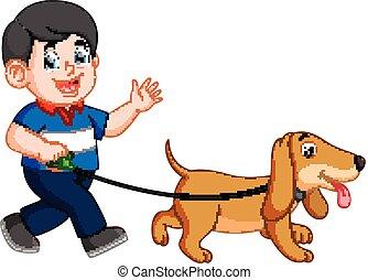 garçon, marche, sien, chien, heureux