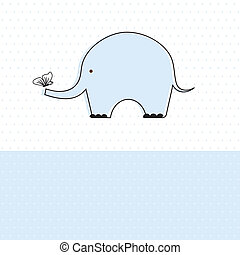 garçon, mignon, douche, éléphant, bébé, carte