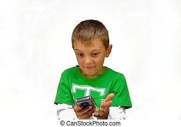 garçon, mobile, suprised, jeune, téléphone portable