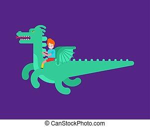 garçon, mouches, isolated., illustration, dragon, conte, vecteur, fée