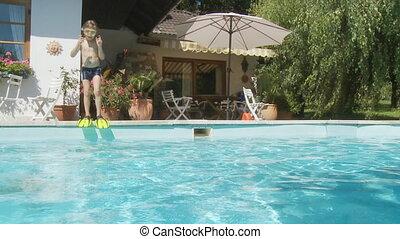 garçon, nageoires, sauter, slo, mo