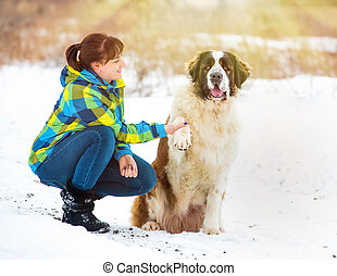 garçon, neige-couvert, jeune, chien, field., séduisant, girl, jouer