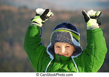 garçon, neige, heureux