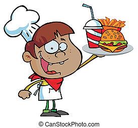 garçon noir, hamburger