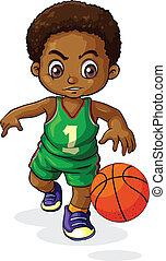garçon, noir, jeune, basketbal, jouer